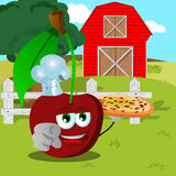 Chef cherry with pizza pointing at viewer on a farm Stock Photo