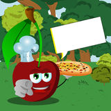 Chef cherry with pizza pointing at viewer in the forest with speech bubble Royalty Free Stock Photo