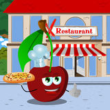 Chef cherry with pizza showing thumb up in front of a restaurant Royalty Free Stock Images
