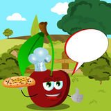 Chef cherry with pizza showing thumb up on a meadow with speech bubble Royalty Free Stock Photography