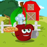 Chef cherry with pizza and tablet on a farm Stock Images