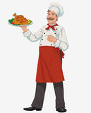 Chef with chicken. Smiling chef with grilled chicken and vegetables Stock Photography