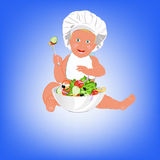 Chef Child and fresh vegetable salad Stock Photos