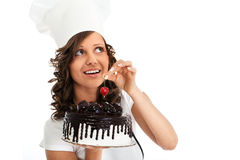 Chef with chocolate cake Royalty Free Stock Photography