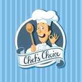 Chef choise label with wooden spoon - flat design vector Stock Image