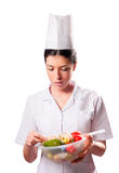 Isolated Chef and Vegetables Royalty Free Stock Images