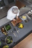 Chef Chopping Kiwi On Board At Commercial Kitchen Counter stock photography