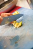 Chef chopping salad ingredients Royalty Free Stock Photo