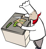 Chef chopping. Vegetables in kitchen Stock Images