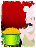 Chef and chowmein. Chef cooking on gradient background Stock Images