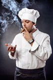 Chef with cigar and cognac Royalty Free Stock Images