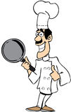 Chef in color. A chef in uniform smiling and holding a pan Royalty Free Stock Photo