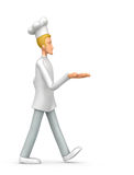 Chef comes with outstretched arm Royalty Free Stock Photography