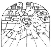 Chef competition. Hand drawn picture of a chef chasing a steaming pot Stock Photo