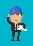 Chef construction engineer man and architect worker with ceo building blueprint and a helmet illustration Stock Image