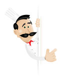 Chef Cook. Illustration of a chef cook holding blank sign royalty free illustration