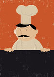 Chef Cook Baker. Illustration of a baker chef cook hlding a black board Royalty Free Stock Photo