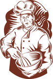 Chef cook or baker with bowl. Vector illustration of a chef cook holding a mixing bow done in woodcut retro style Stock Photography