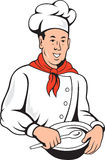 Chef Cook Baker Mixing Bowl Cartoon Royalty Free Stock Image
