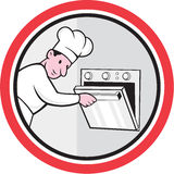 Chef Cook Baker Opening Oven Circle Cartoon Stock Images
