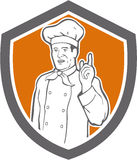 Chef Cook Baker Pointing Up Shield Royalty Free Stock Images