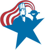 Chef Cook Baker Serving Hot Food Stars Stripes. Illustration of a chef cook baker serving hot food with stars and stripes done in retro style Stock Image