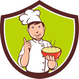 Chef Cook Bowl Pointing Crest Cartoon Royalty Free Stock Photos