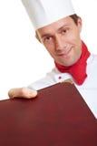 Chef cook bringing menu card Stock Photo