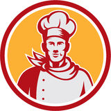 Chef Cook Bust Front Circle Retro de Baker Images libres de droits