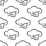 Chef or cook caps seamless outline pattern Stock Photography