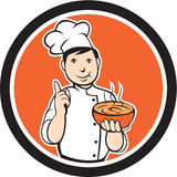 Chef Cook Carrying Bowl Circle Cartoon Stock Photo