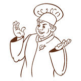 Chef cook. Cartoon hand drawing character. Chef cook with hat. Vector illustration Stock Illustration