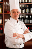 Chef cook confident professional posing restaurant royalty free stock images