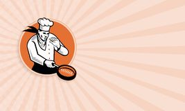 Chef Cook Cooking Pan Circle. Business card template showing retro illustration of a chef cook cooking with frying pan set inside circle on isolated white Stock Images
