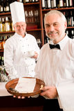 Chef cook drink coffee waiter tray restaurant royalty free stock photos