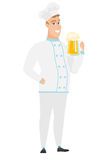 Chef cook drinking beer vector illustration. Royalty Free Stock Photography