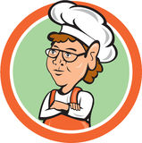 Chef Cook Female Arms Folded Circle Cartoon Royalty Free Stock Photos