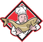Chef Cook Handling Salmon Trout Fish Cartoon. Illustration of a chef cook handling holding up a trout salmon fish facing front set inside diamond shape done in Royalty Free Stock Images