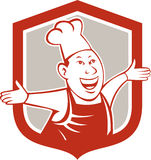 Chef Cook Happy Arms Out Shield Cartoon Stock Photo