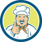 Chef Cook Happy Thumbs Up Circle Retro Royalty Free Stock Image