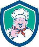 Chef Cook Happy Thumbs Up Shield Cartoon Royalty Free Stock Photography
