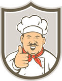 Chef Cook Happy Thumbs Up Shield Retro Stock Photos