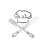 Chef cook hat with fork and knife hand drawing sketch label. Cut Royalty Free Stock Image
