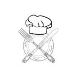 Chef cook hat with fork and knife hand drawing sketch label. Cut Royalty Free Stock Images