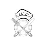 Chef cook hat with fork and knife hand drawing sketch label. Cut Stock Images
