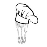 Chef cook hat with fork, spoon and knife hand drawing sketch lab Royalty Free Stock Photography