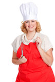 chef cook with hat and red apron Stock Image