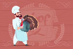 Chef Cook Hold Turkey Smiling Cartoon Restaurant Chief In White Uniform Over Wooden Textured Background Stock Photography