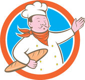Chef Cook Holding Baguette Circle Cartoon. Illustration of a chef cook baker holding baguette bread set inside circle on isolated background done in cartoon stock illustration