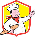 Chef Cook Holding Baguette Shield Cartoon Stock Image